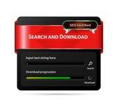 Beståndsdel för sökande- och nedladdningGUI-rengöringsdukdesign Arkivfoton