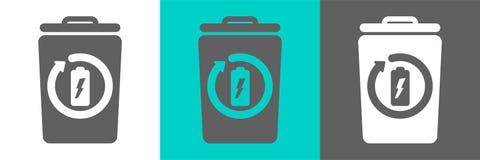 Beståndsdel för vektor för avfallfack med batteriöversiktssymbolen vektor illustrationer