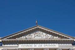 Beståndsdelar av arkitektur Dekor av byggnader i mitten av Madrid, Spanien Bakgrund Arkivfoton