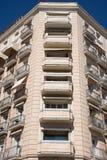 Beståndsdelar av arkitektur Dekor av byggnader i mitten av Madrid, Spanien Bakgrund Royaltyfria Foton
