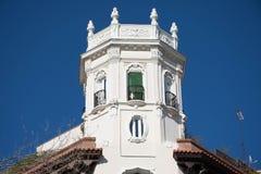 Beståndsdelar av arkitektur Dekor av byggnader i mitten av Madrid, Spanien Bakgrund Royaltyfri Bild