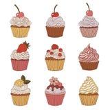 Beståndsdelar av en muffin Arkivfoton