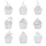 Beståndsdelar av en muffin Arkivbilder