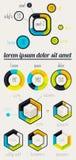 Beståndsdelar av Infographics med knäppas och menyer Arkivbilder