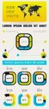 Beståndsdelar av Infographics med knäppas och menyer Arkivbild