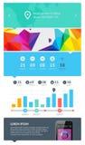Beståndsdelar av Infographics med knappar och menyer Royaltyfria Bilder