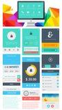 Beståndsdelar av Infographics med knappar och menyer Arkivbilder