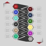Beståndsdelar av infographicsen för klistermärkear och etiketter Arkivfoto