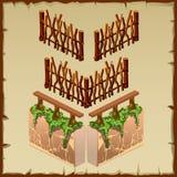 Beståndsdelar av trä och stenstaketet med mossa vektor illustrationer