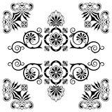 Beståndsdelar för blom- design för prydnad med virvlar vektor illustrationer
