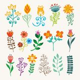 Beståndsdelar för blom- design för tappning för vektorhandattraktion Blommar dekorativa beståndsdelar Blom- beståndsdelar för gar vektor illustrationer