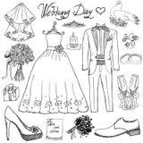 Beståndsdelar för bröllopdag Handen drog uppsättningen med klänningen för blommastearinljusbruden och smokingen passar, skor, exp royaltyfri illustrationer