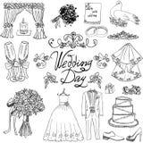 Beståndsdelar för bröllopdag Handen drog uppsättningen med klänningen för blommastearinljusbruden och smokingen passar, skor, exp stock illustrationer