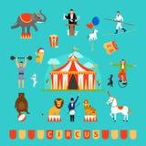 Beståndsdelar för cirkus och för rolig mässa Fotografering för Bildbyråer