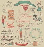 Beståndsdelar för design för fastställd jul för vektor Calligraphic Royaltyfri Bild