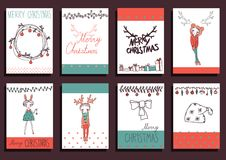 Beståndsdelar för design för fastställd jul för vektor Calligraphic Fotografering för Bildbyråer