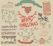 Beståndsdelar för design för fastställd jul för vektor Calligraphic Royaltyfria Bilder