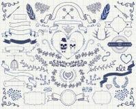 Beståndsdelar för design för klotter för vektortappning hand drog royaltyfri illustrationer
