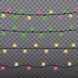 Beståndsdelar för design för julljus isolerade Glödande ljus för Xmas semestrar hälsningkortdesign Girlandjul royaltyfri illustrationer