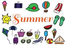 Beståndsdelar för färg för sommarsemester drog hand Vektor Illustrationer