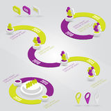 Beståndsdelar för färgrik timeline för vektor infographic Royaltyfria Bilder