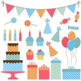 Beståndsdelar för födelsedagparti Royaltyfria Bilder