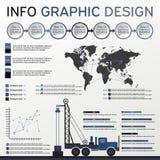 Beståndsdelar för fossila bränslenbransch Informationsdiagramuppsättning Shoppa etiketter och symboler Arkivbild