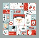 Beståndsdelar för garnering för juladventkalender gulliga royaltyfri illustrationer