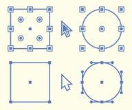 Beståndsdelar för grafisk design, fyrkanten och symbolen för cirkelankarpunkt planlägger vektor illustrationer