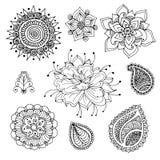 Beståndsdelar för hennaklottervektor vektor illustrationer