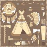 Beståndsdelar för indianjaktdesign - illustra Arkivfoton