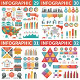 Beståndsdelar för Infographic affärsdesign - vektorillustration Infograph mallsamling Världs- och USA översikter industriell fabr Arkivfoto