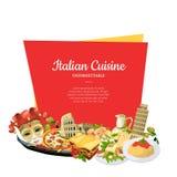 Beståndsdelar för kokkonst för vektortecknad film italienska nedanför ram med stället för textillustration vektor illustrationer