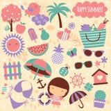 Beståndsdelar för konst för gem för sommarsäsong stock illustrationer