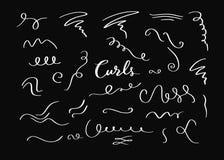 Beståndsdelar för krullning för vektorhand utdragna dekorativa, virvlar, krusidullar och textkalligrafiavdelare royaltyfri illustrationer