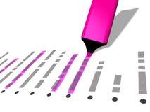 Beståndsdelar för lista för van vid viktig för rosa färgpennmarkör utvalda vektor illustrationer