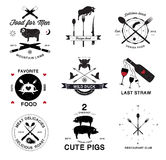 Beståndsdelar för logo och för design för restaurangmeny retro Royaltyfri Bild