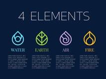 Beståndsdelar för natur 4 i spolelinjen gränsabstrakt begreppdroppe bevattnar symbolstecknet Vatten brand, jord, vind för designe Royaltyfria Bilder