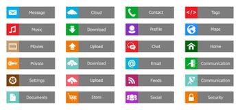 Beståndsdelar för rengöringsdukdesign, knappar, symboler. Mallar för website arkivfoton