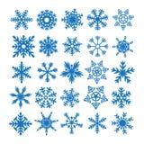 Beståndsdelar för snöflingauppsättningvinter Royaltyfri Fotografi