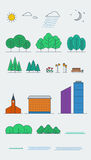 Beståndsdelar för stadslandskapdesign linjär stil också vektor för coreldrawillustration Fotografering för Bildbyråer