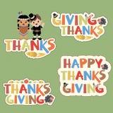 Beståndsdelar för tacksägelsetypografidesign vektor illustrationer