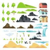 Beståndsdelar för tecknad filmlandskapvektor med berg, kullar, tropiska träd och byggnader stock illustrationer
