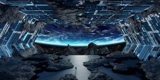 Beståndsdelar för tolkning 3D för enormt asteroidrymdskepp inre av denna I Royaltyfri Fotografi
