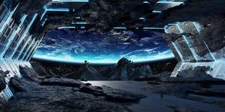 Beståndsdelar för tolkning 3D för enormt asteroidrymdskepp inre av denna I vektor illustrationer