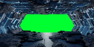 Beståndsdelar för tolkning 3D för enormt asteroidrymdskepp inre av denna I Fotografering för Bildbyråer