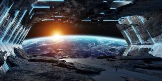 Beståndsdelar för tolkning 3D för enormt asteroidrymdskepp inre av denna I stock illustrationer