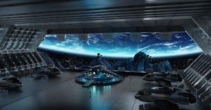 Beståndsdelar för tolkning 3D för rymdskepp för landningremsa inre av denna I Arkivfoto