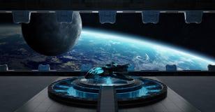 Beståndsdelar för tolkning 3D för rymdskepp för landningremsa inre av denna I Arkivfoton