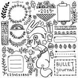 Beståndsdelar för vektor för kultidskrift hand drog för anteckningsbok, dagbok och stadsplanerare royaltyfri illustrationer